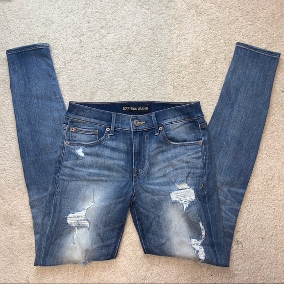 Express distressed mid-rise jeans 3950